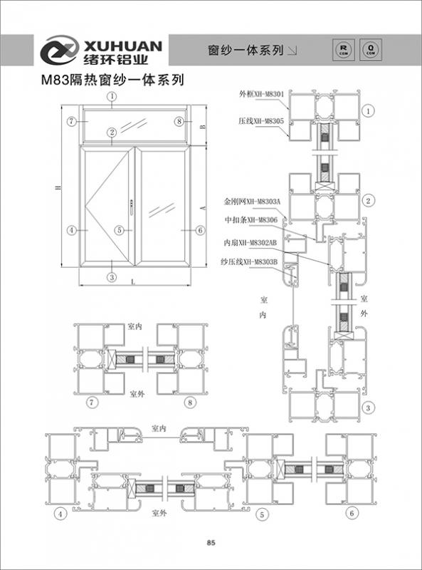 M83隔热窗纱一体系列