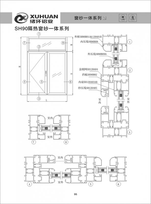 SH90隔热窗纱一体系列