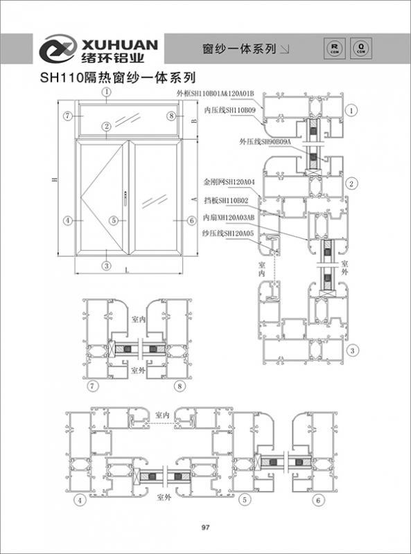 SH110隔热窗纱一体系列