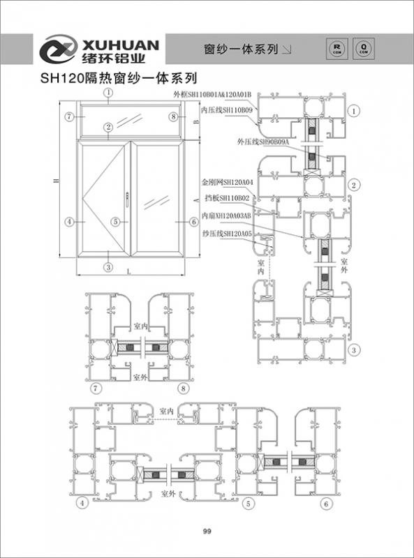 SH120隔热窗纱一体系列