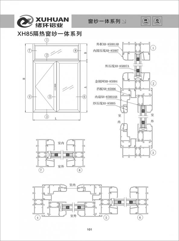 XH85隔热窗纱一体系列
