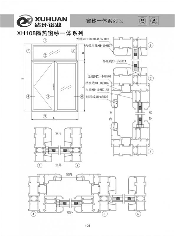 XH108隔热窗纱一体系列