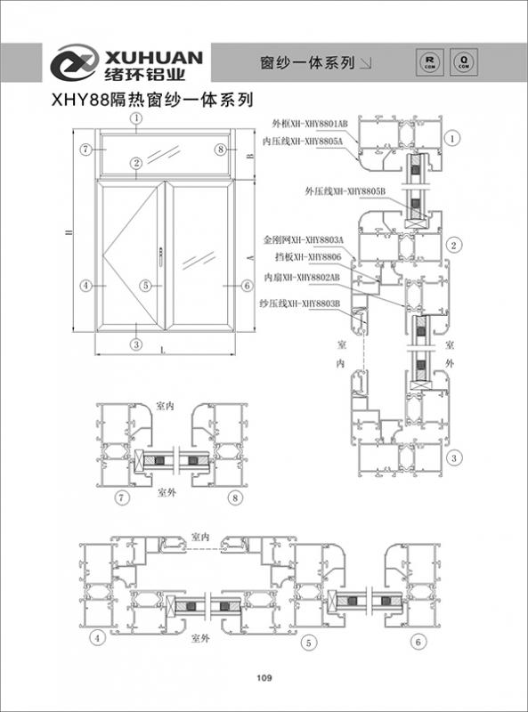 XHY88隔热窗纱一体系列