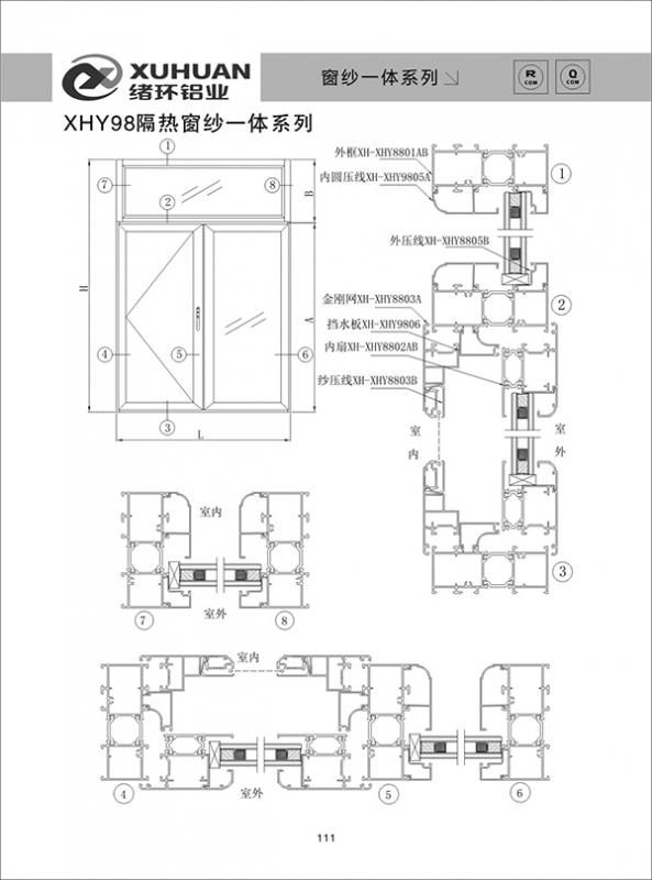XHY98隔热窗纱一体系列